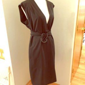 Rene Lezard Sleeveless Belted Sack Dress